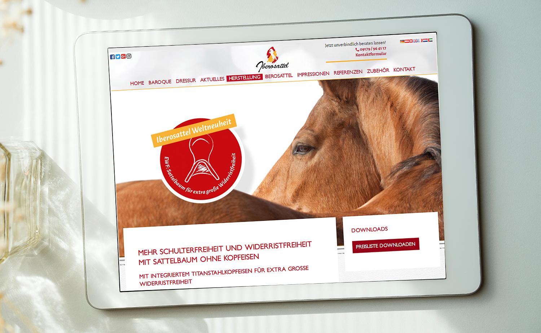 Gestaltung und Umsetzung der Iberosattel-Website; Betreuung und Pflege durch Iberosattel selbst