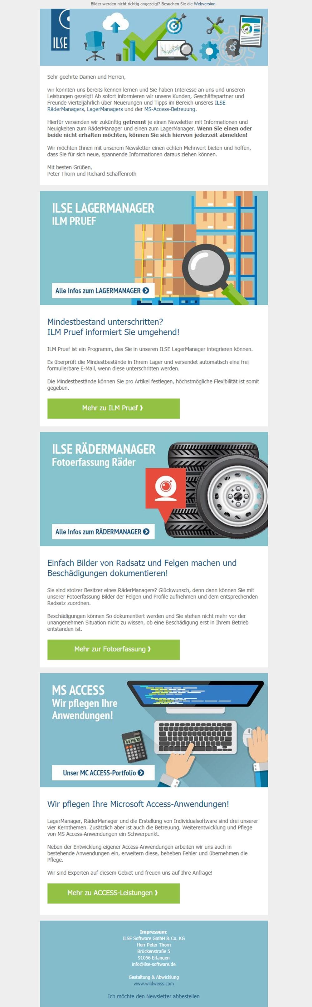 Beispiel-Newsletter für ILSE Rädermanager und Lagermanager