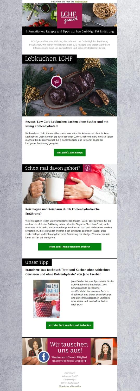 Beispiel-Newsletter für unser Ernährungsportal LCHFgesund