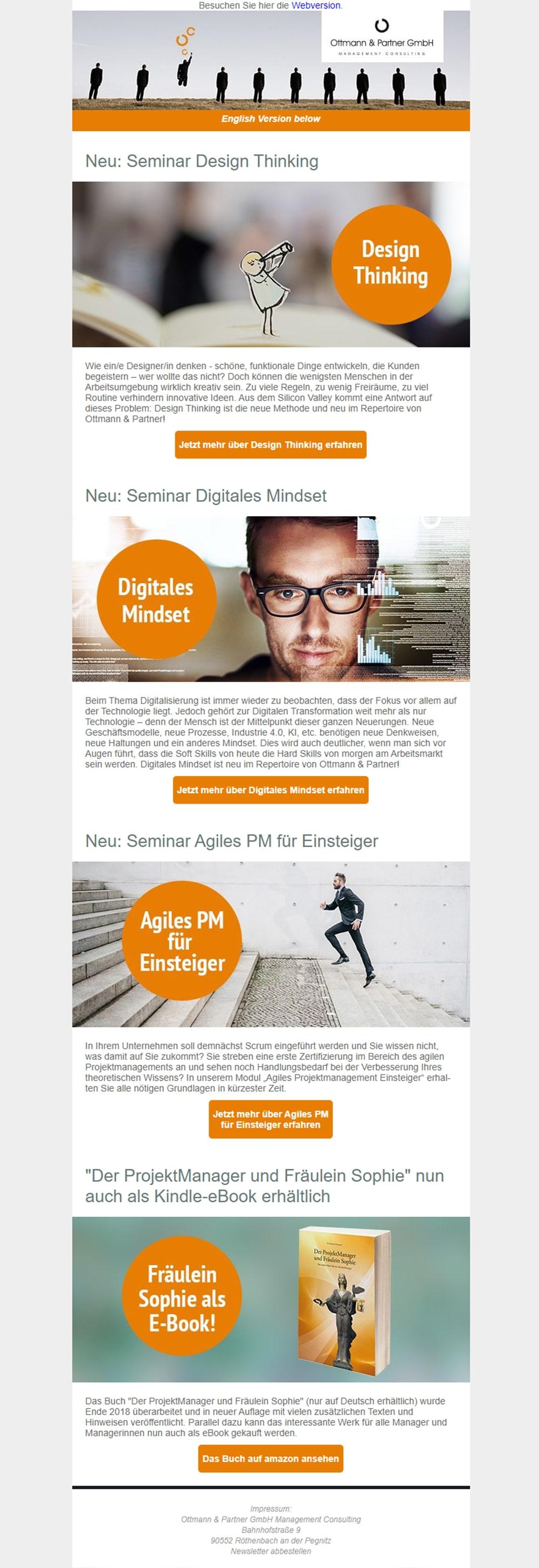 Beispiel-Newsletter für Ottmann & Partner GmbH Management Consulting