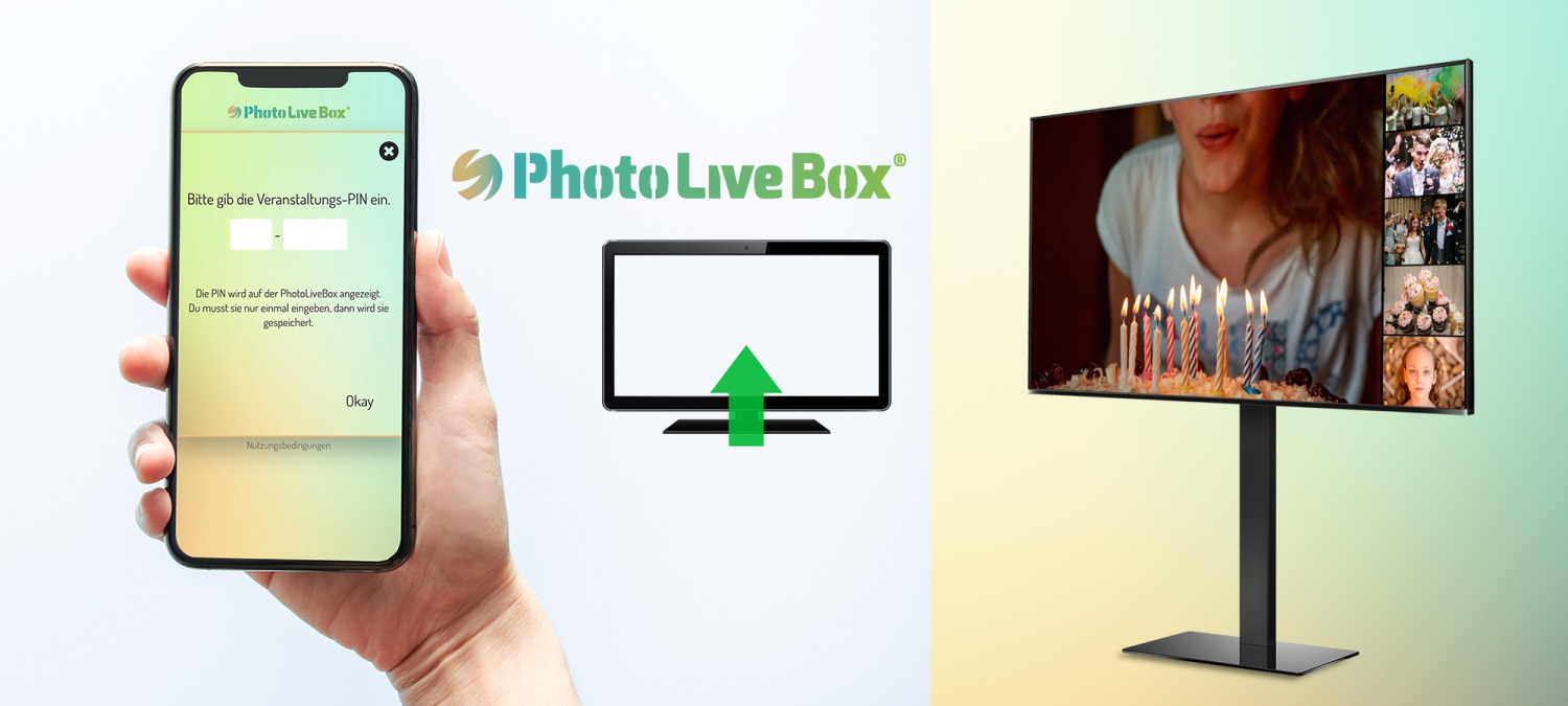 Software für ein Veranstaltungstool, bei dem Fotos während der Veranstaltung von Gästen via Smartphone auf einen Bildschirm übertragen werden können.