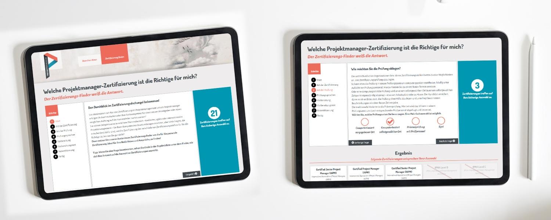 Interaktives Tool zur Feststellung einer individuell geeigneten Zertifizierung für projektmanager.de