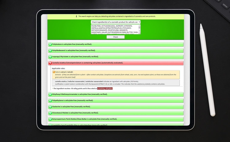 Entwicklung einer datenbankbasierten Suchmaschine zum Aufspüren von Salicylaten in Kosmetikprodukten