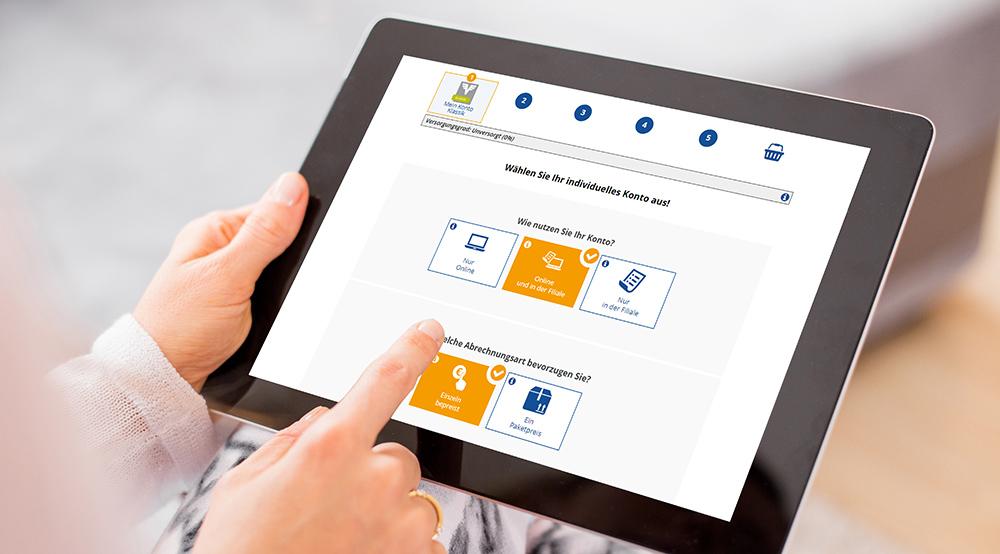 Einfache Benutzerführung und intuitive Usability stehen ganz oben, wie auch hier bei einem Kontofinder für eine österreichische Volksbank