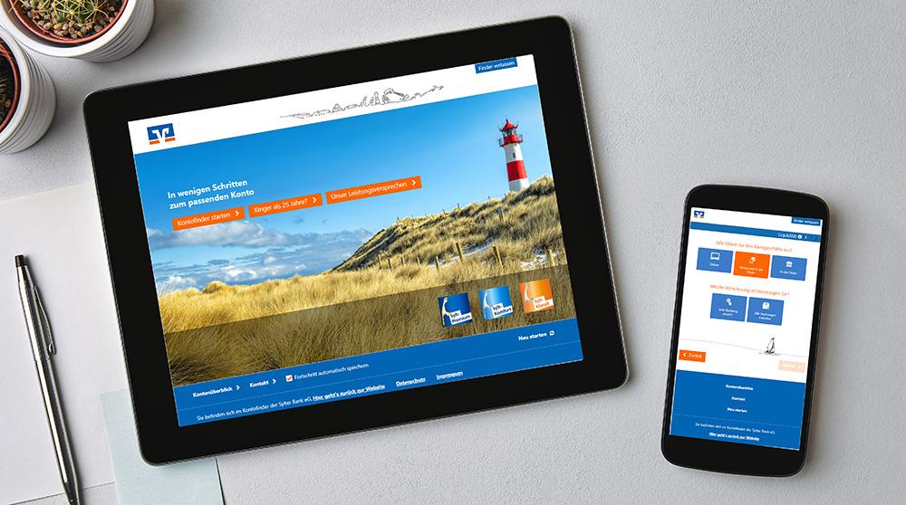 Lokale Schwerpunkte bei Regionalbanken, wie hier eine Volksbank auf einer deutschen Nordseeinsel