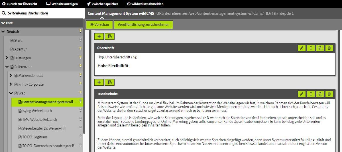 Inhalts-Editor mit Seitenbaum und Multilingual-Paket