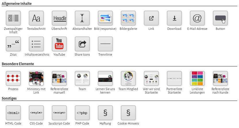 wildCMS Standardelemente und websitespezifische Elemente